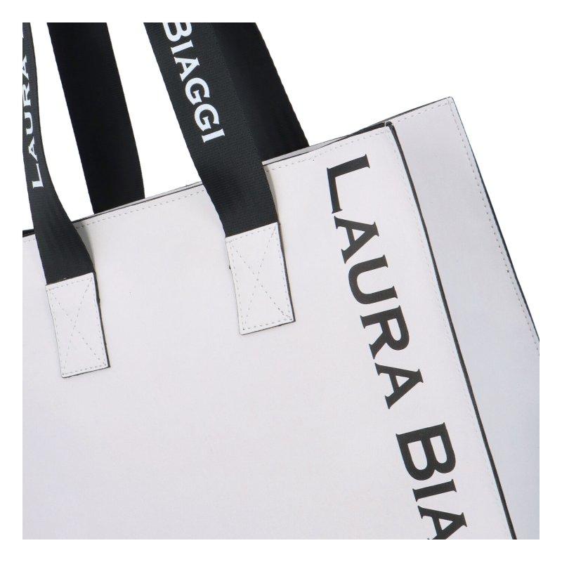 Stylový dámský shopper Laura B., bílý s černo-bílým uchem