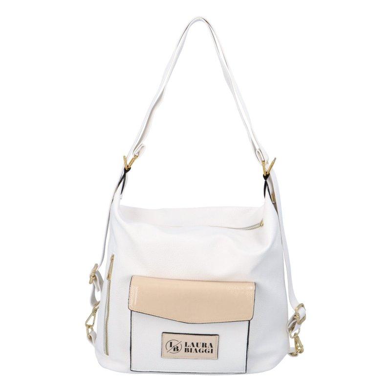 Dámský koženkový kabelko batoh LB Lovely dream, bílo-béžový