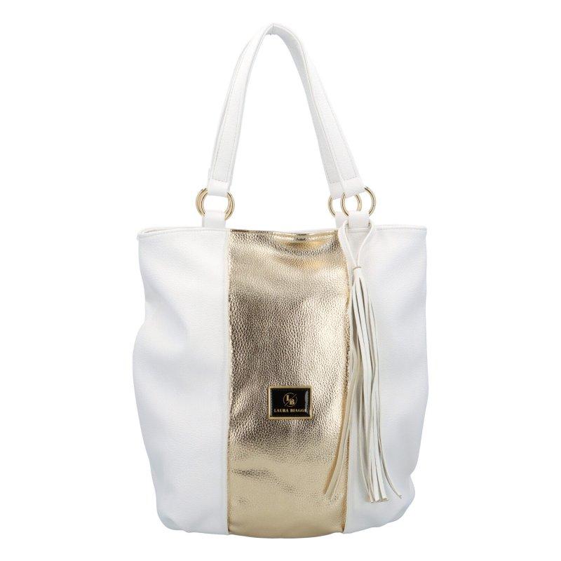 Módní a praktická dámská koženková kabelka  Sidny L.B., bílo-zlatá