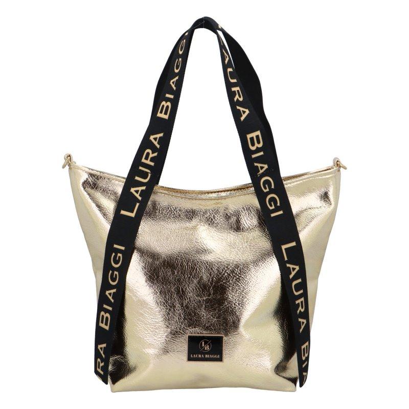 Zajímavá a módní dámská koženková kabelka Martina Laura Biaggi, zlatá
