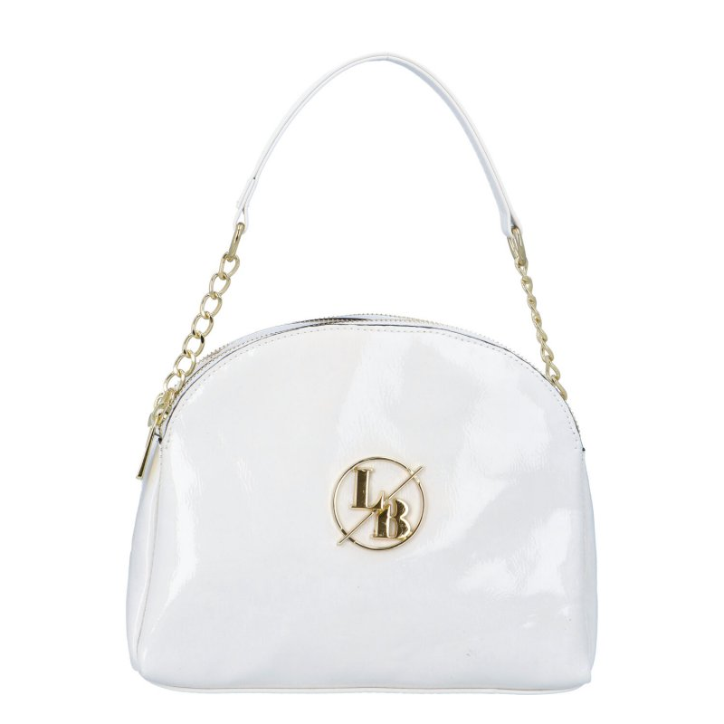 Menší dámská koženková kabelka LB Imra, bílá-zlatá