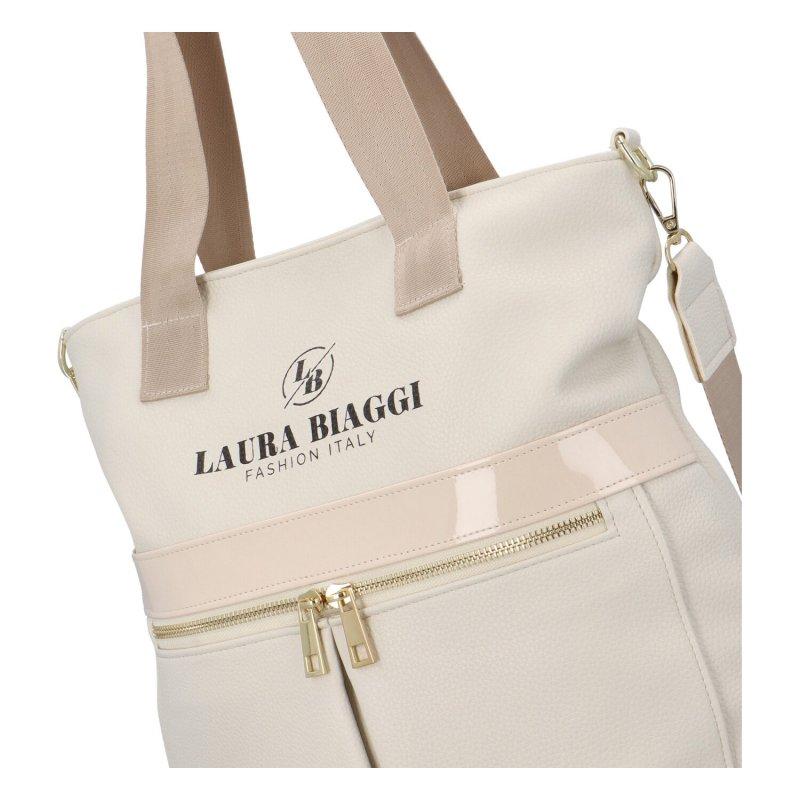 Dámská koženková kabelka Italy fashion lady, béžová
