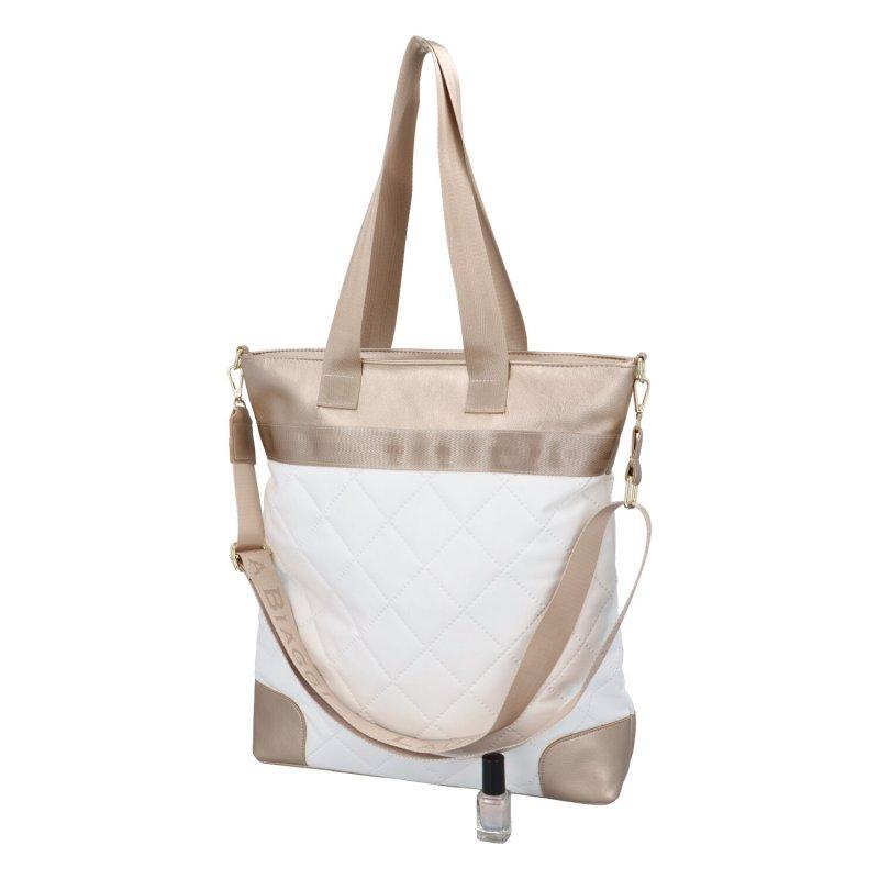 Nepřehlédnutelná dámská luxusní taška Beige L.B., bílá