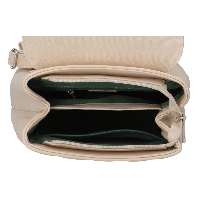 Zajímavý dámský koženkový batůžek BRUNO, béžový