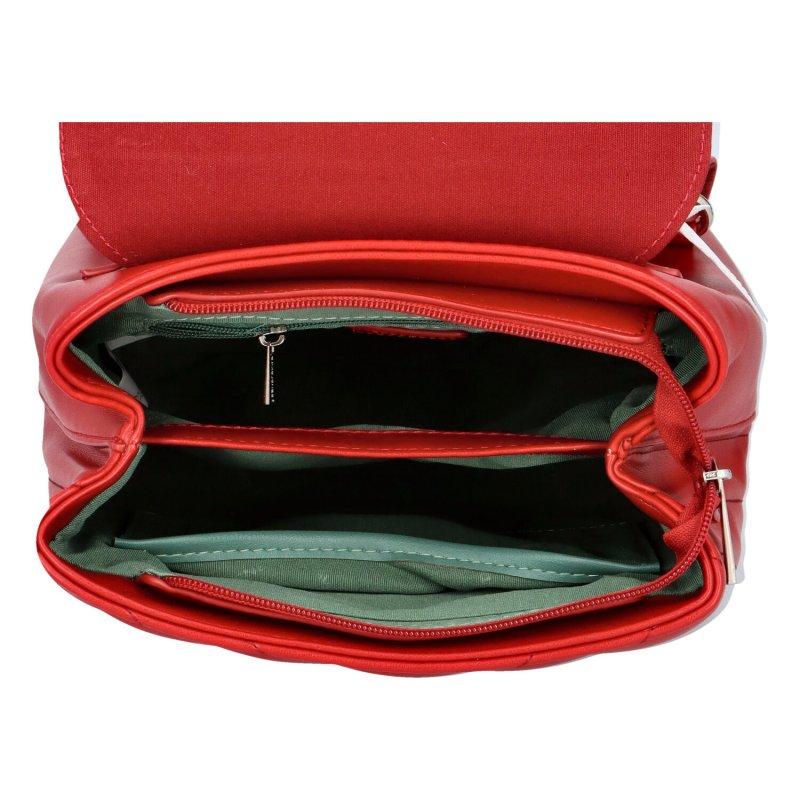 Zajímavý dámský koženkový batůžek BRUNO, červený