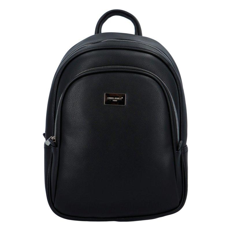 Prostorný dámský koženkový batůžek DJ Traveller, černý