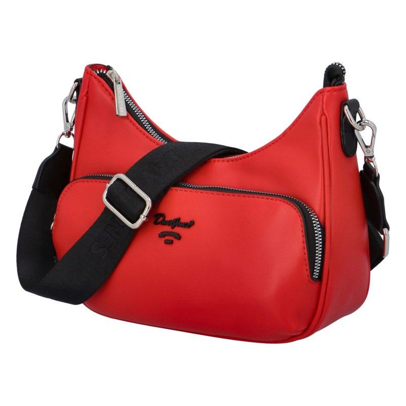 Módní koženková crossbody kabelka Antonie, červená