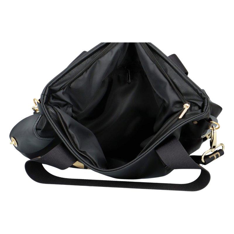 Trendová dámská kabelka L.B. New Star, černá-zlatá