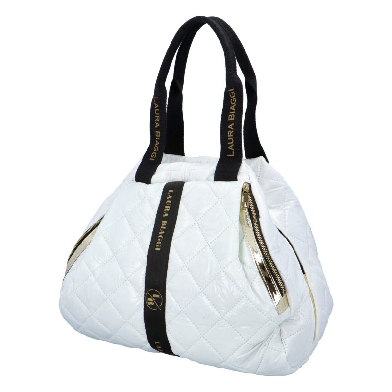 Moderní dámská koženková kabelka LB Madona, bílá, polstrovaná