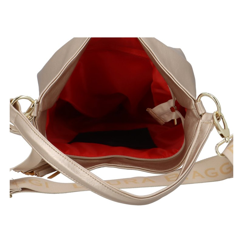 Luxusní koženková kabelka Vilém, zlatá