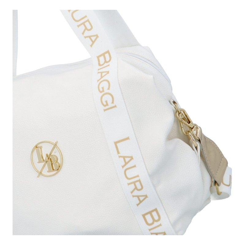 Prostorná koženková kabelka Meghan, bílá