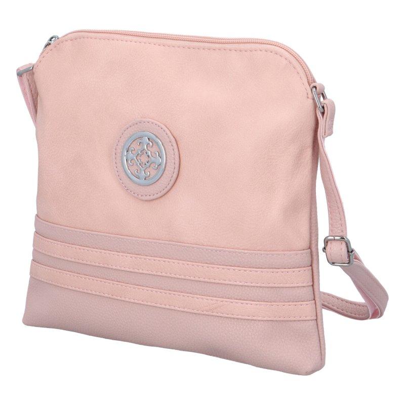 Dámská koženková kabelka s ornamentem Nick, růžová