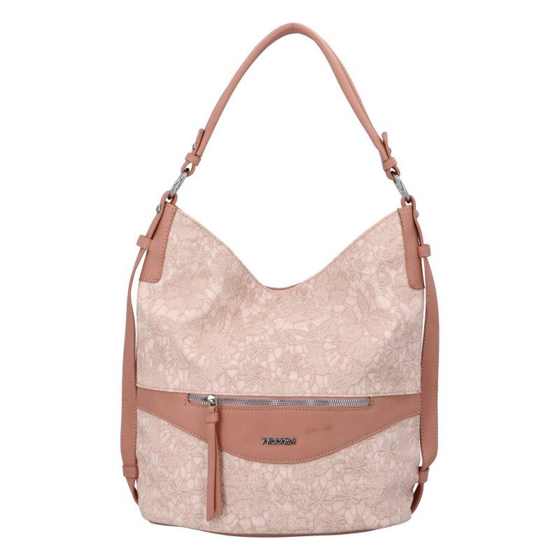 Krásná dámská kabelka s květinovým vzorem Daisy, růžová