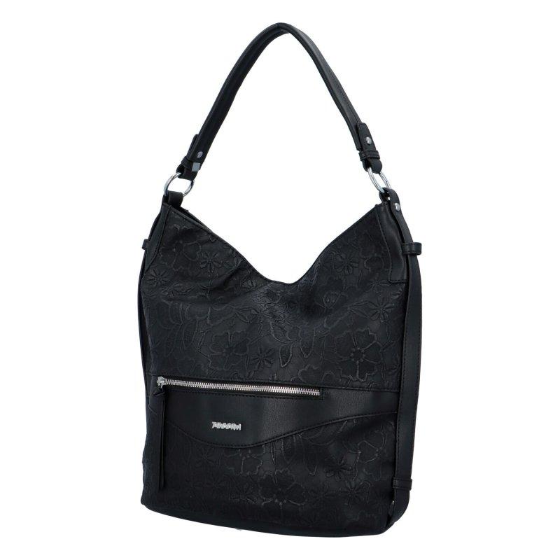 Krásná dámská kabelka s květinovým vzorem Daisy, černá