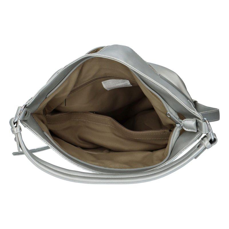 Krásná dámská kabelka s květinovým vzorem Daisy, stříbrná