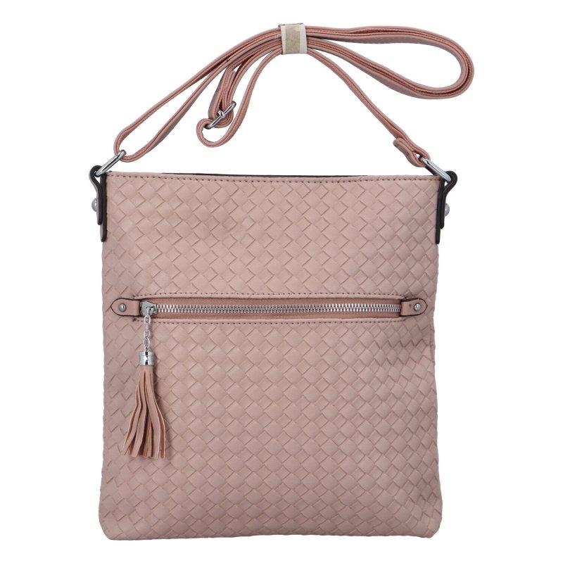 Dámská koženková crossbody kabelka Cindy, růžová