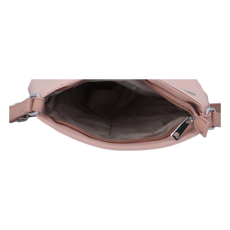 Barevná dámská koženková crossbody kabelka Tobi, růžová