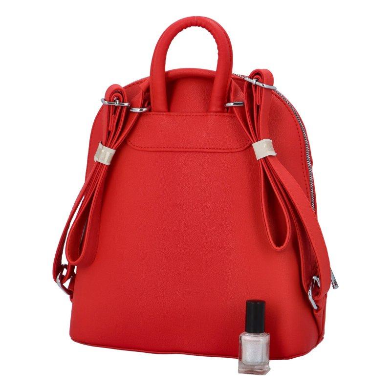 Dámský koženkový batůžek s květinovým vzorem Deborah, červený