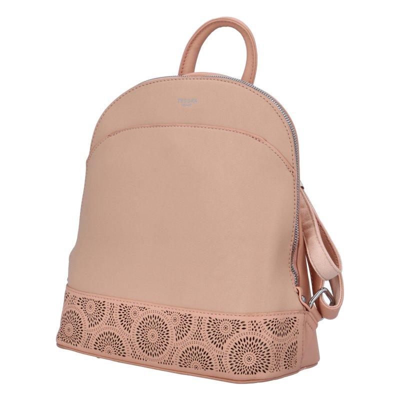 Dámský koženkový batůžek s květinovým vzorem Deborah, růžový