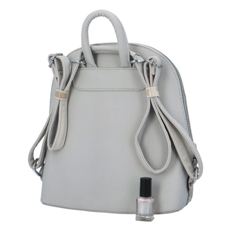 Dámský koženkový batůžek s květinovým vzorem Deborah, šedý