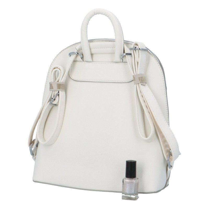 Dámský koženkový batůžek s květinovým vzorem Deborah, bílá