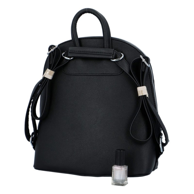 Dámský koženkový batůžek s květinovým vzorem Deborah, černý