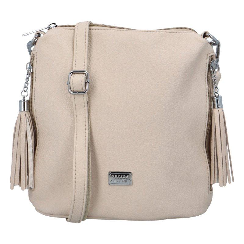 Dámská koženková kabelka přes rameno Kristin, tmavě béžová
