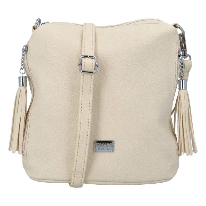 Dámská koženková kabelka přes rameno Kristin, béžová