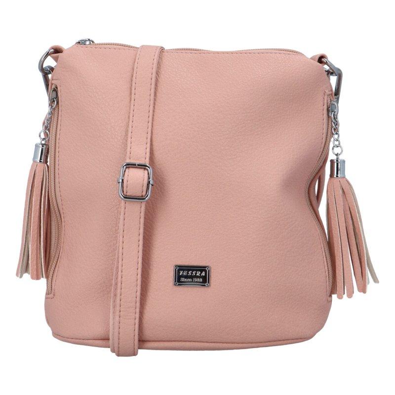 Dámská koženková kabelka přes rameno Kristin, růžová