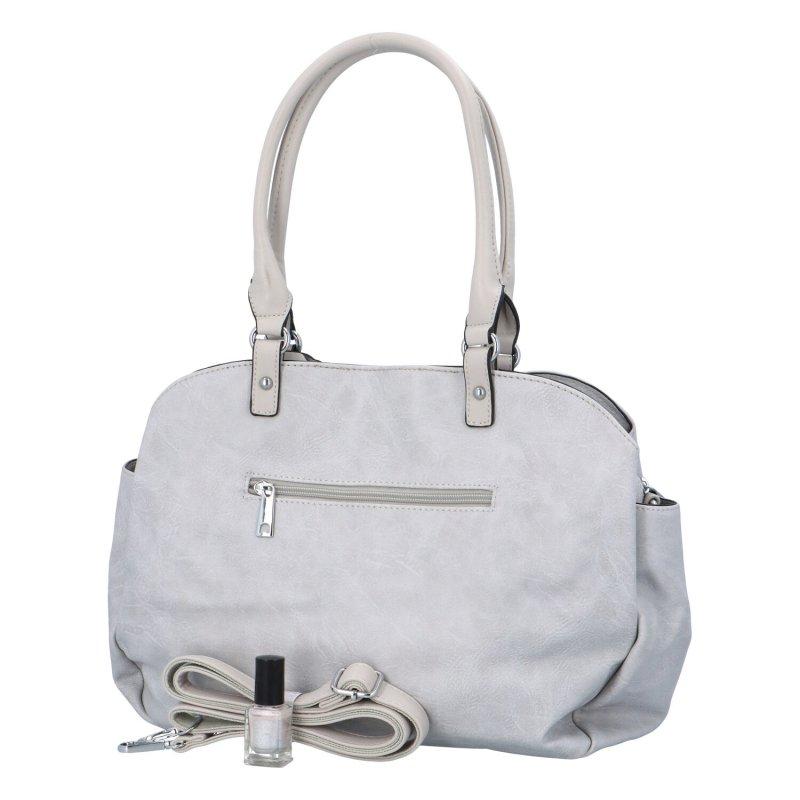 Velká prostorná koženková kabelky Lime, šedá