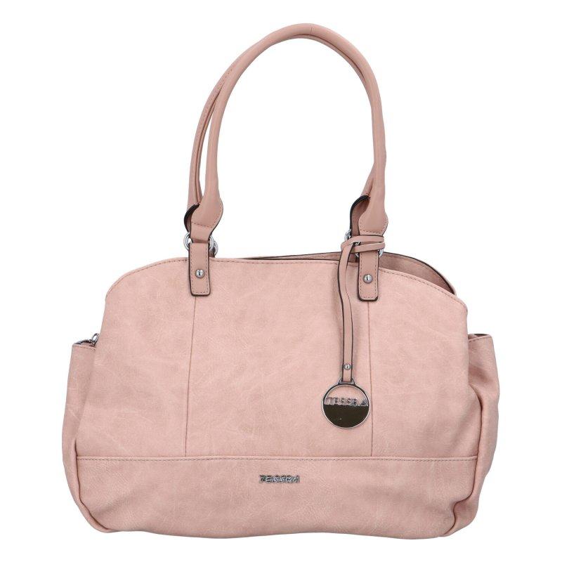 Velká prostorná koženková kabelky Lime, růžová