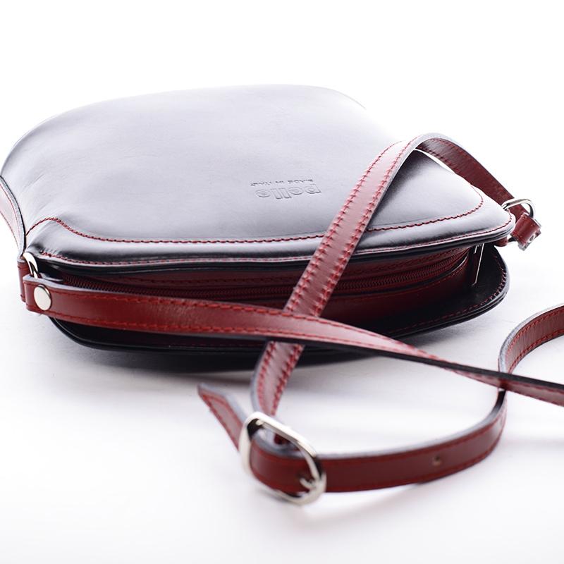Kožená basic crossbody kabelka Karin, černo-červená