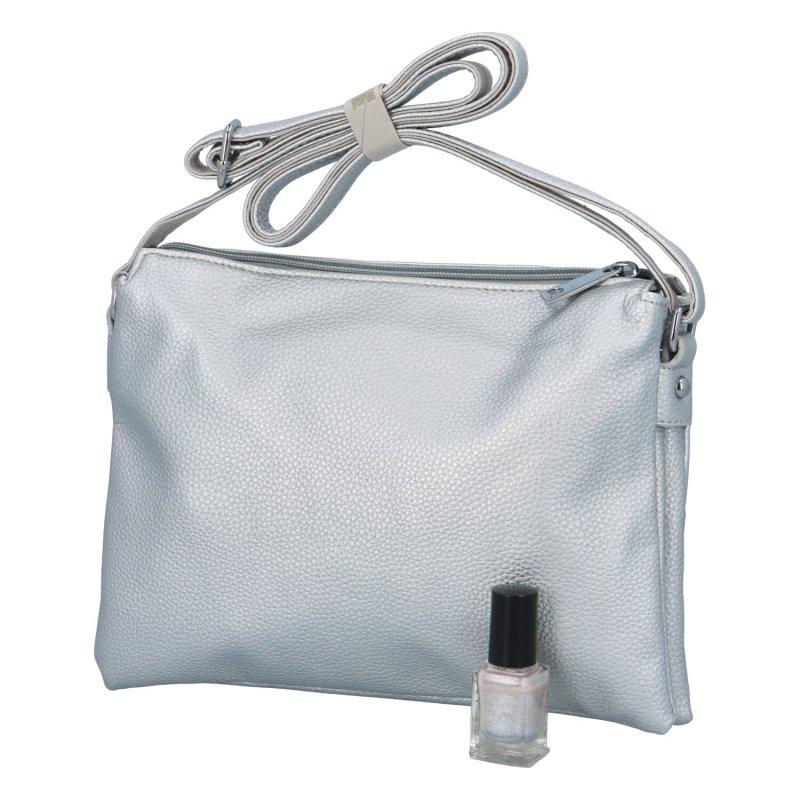Dámská koženková kabelka Eva, stříbrná
