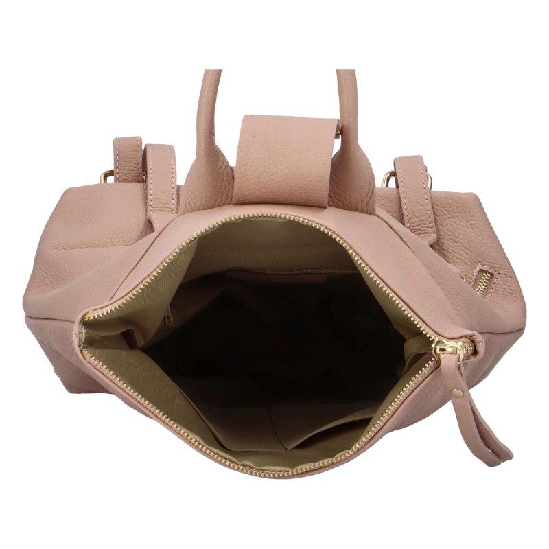 Krásný kožený batoh Samuel, růžový