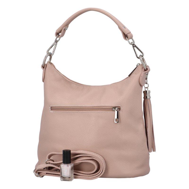 Luxusní kožená kabelka Elena, růžová