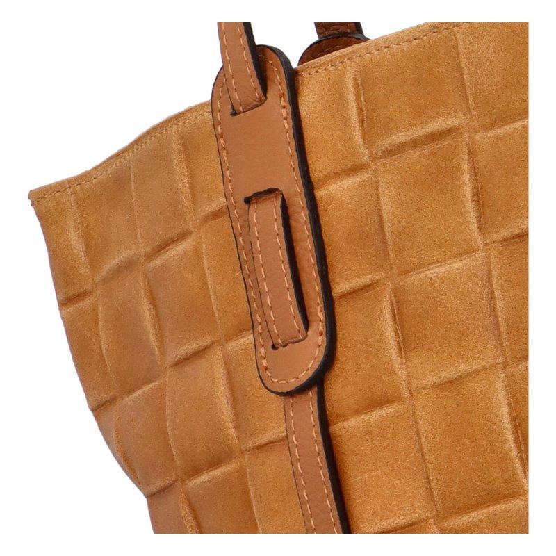 Stylová dámská kožená kabelka Elis, koňakově hnědá