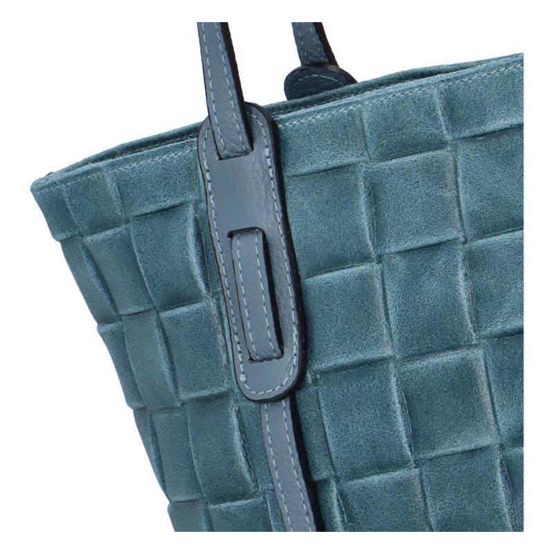 Stylová dámská kožená kabelka Elis, modrá