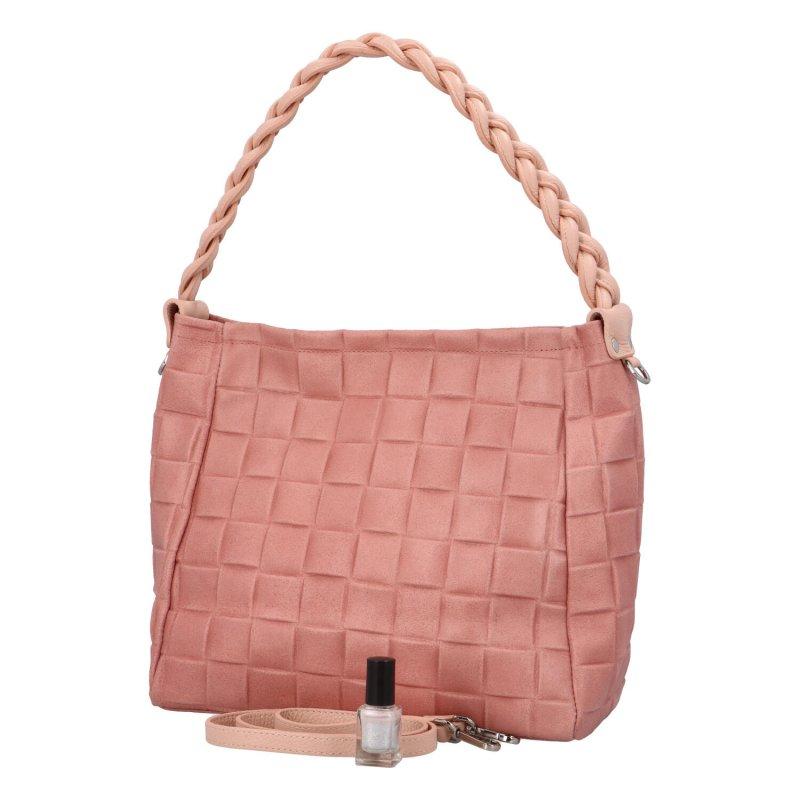 Stylová dámská kožená kabelka Juni, růžová