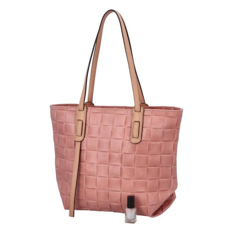 Stylová dámská kožená kabelka Elis, růžová
