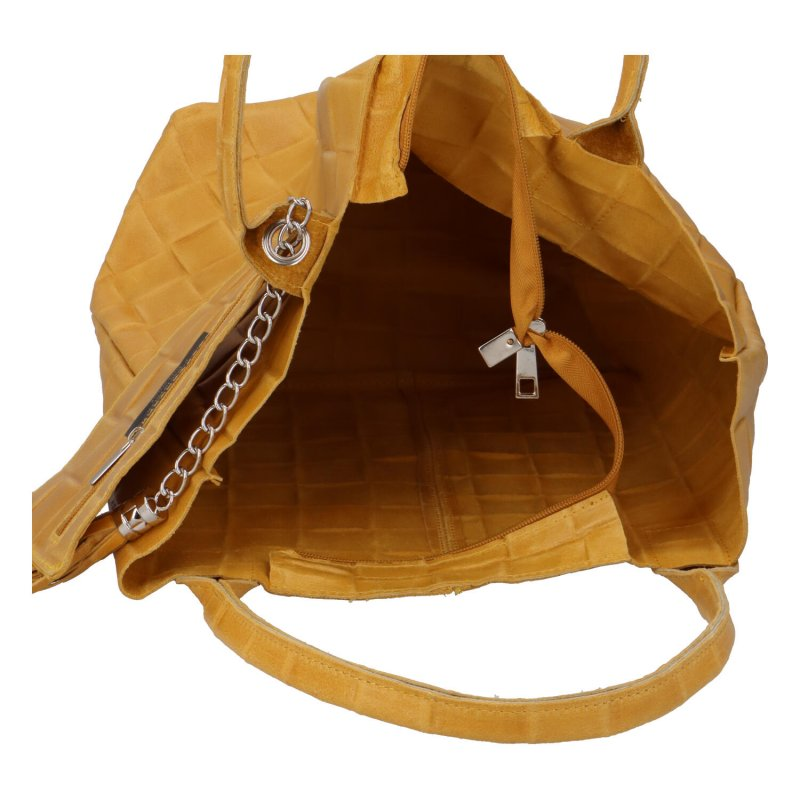 Luxusní dámská kožená kabelka Inge, žlutá