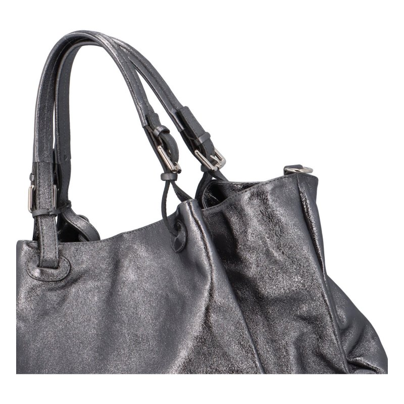 Trendy kožená kabelka Chrisy, černo-stříbrná