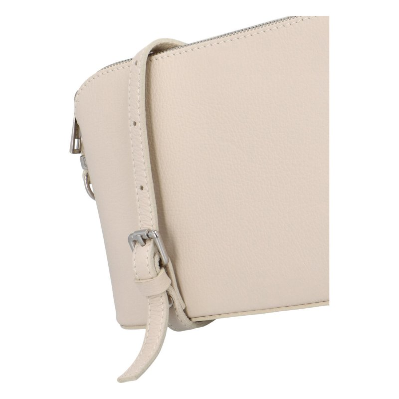 Basic kožená crossbody kabelka Carlota, béžová