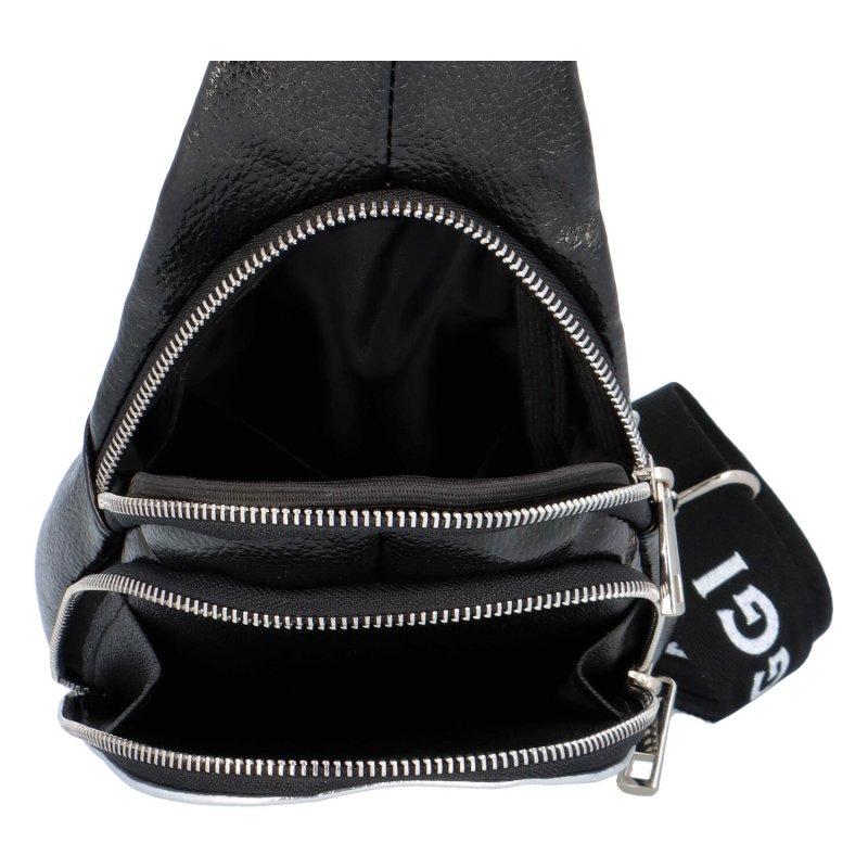 Módní koženkový batůžek Laura B. , černá/stříbrná