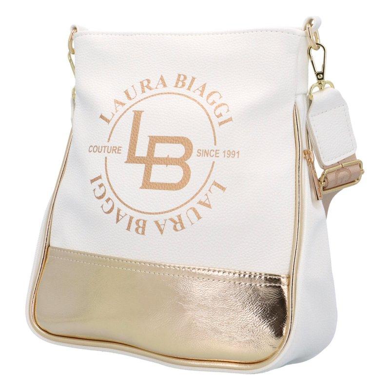 Sportovní dámská koženková taška Laura B., bílá/zlatá