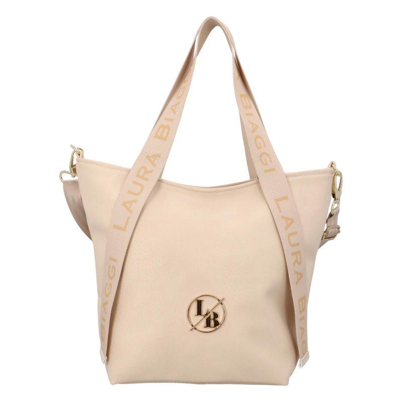 Příjemná dámská koženková kabelka Bellinda B, béžová