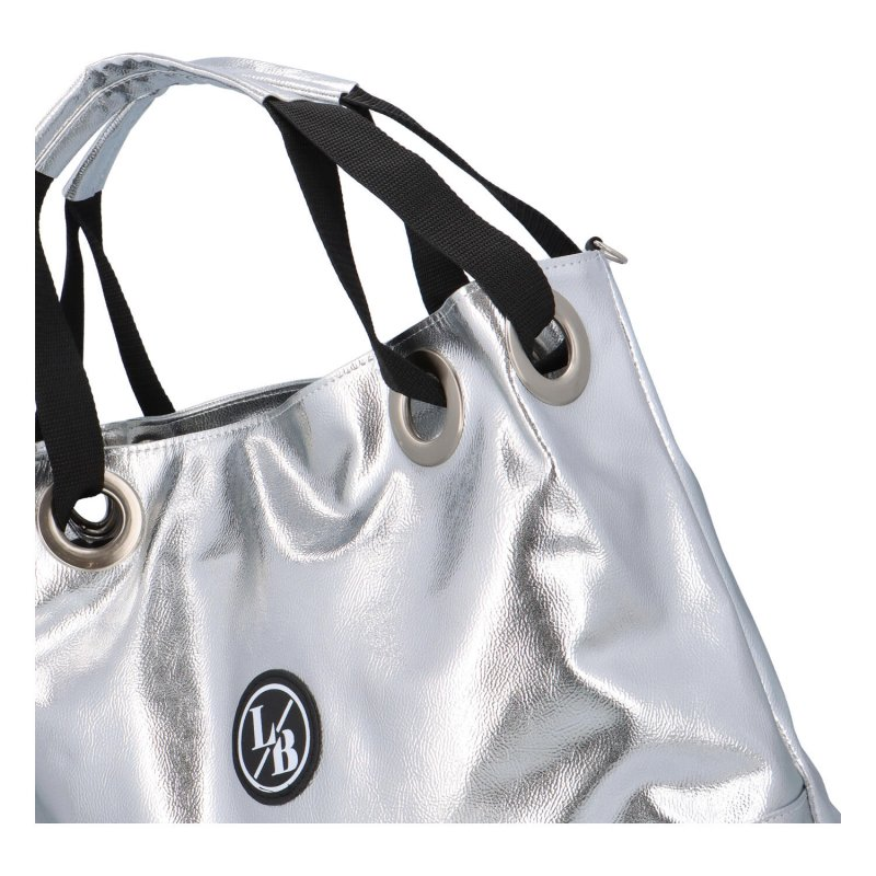 Objemná koženková dámská taška Luxury Laura Biaggi, stříbrná