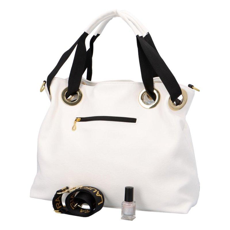 Objemná koženková dámská taška Luxury Laura Biaggi, bílá
