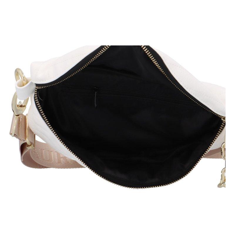 Stylová prošívaná dámská koženková ledvinka L.B. Gold and White, bílá