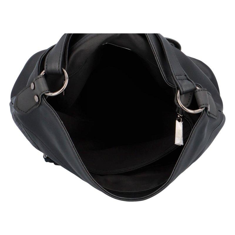 Dámská koženková crossbody s výraznými zipy Lila, černá