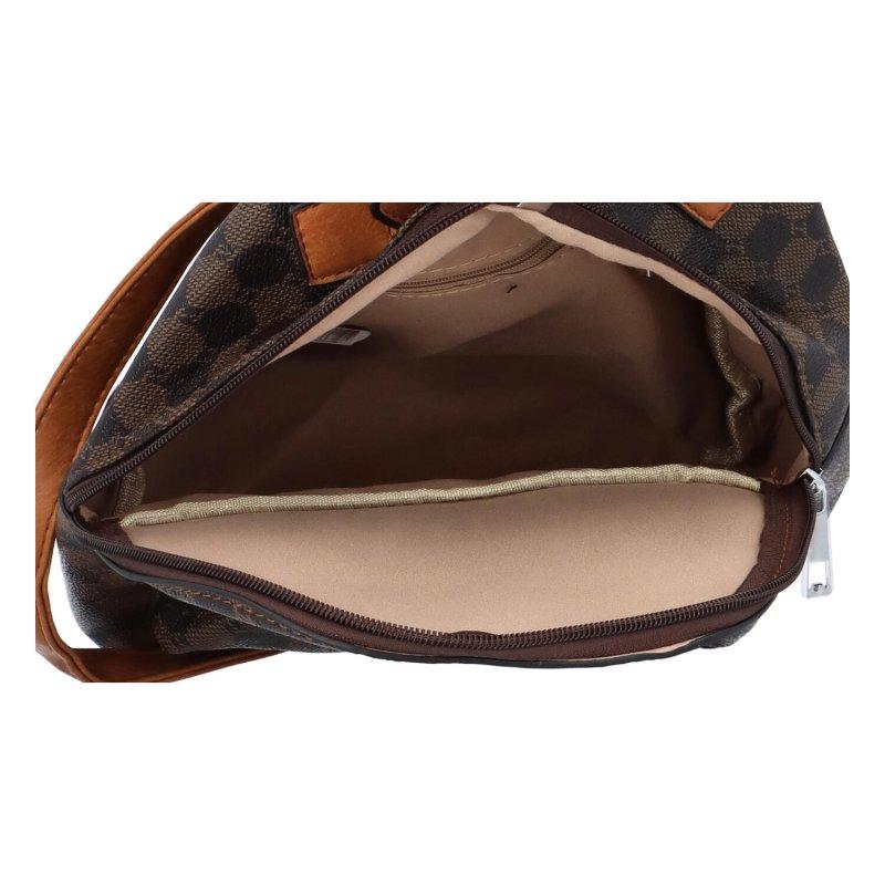 Módní dámský koženkový batůžek Marceli, tmavě hnědá vzor